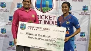 Jemimah Rodrigues with the Player of the Match award(BCCI)