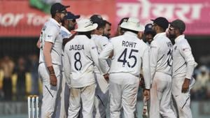 Team India after the dismissal of Bangladesh's Taijul Islam during the first test match.(AP)