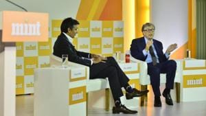 Bill Gates, who co-chairs the Bill and Melinda Gates Foundation, at Mint Visionaries in New Delhi on Sunday.(HT PHOTO.)