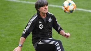 Germany coach Joachim Loew during training.(REUTERS)