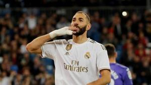 Karim Benzema celebrates scoring a goal for Real Madrid.(REUTERS)