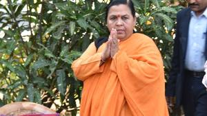 The former Union minister, Uma Bharti has two fractures in her left foot, besides some injury to the head.(Mujeeb Faruqui/HT Photo)