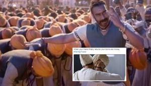 Ajay Devgn in a still from the Tanhaji trailer.