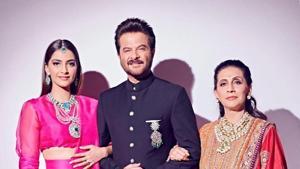 Anil Kapoor with daughter Sonam Kapoor and wife Sunita.(instagram)