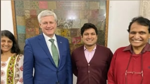 Uma and Suresh Prabhu and their son, Ameya, with former Canadian PM Stephen Harper.