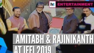 IFFI 2019   Amitabh Bachchan honoured by Rajinikanth with special award