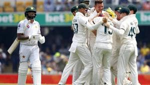 Pakistan's Asad Shafiq offered most resistance to the barrage from the Australian pace battalion with a fine knock of 76 before he was ousted by a Cummins delivery that removed his middle stump.(AP)