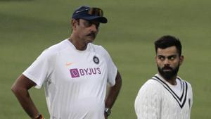 India skipper Virat Kohli with head coach Ravi Shastri.(AP)
