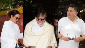 Amitabh Bachchan, Rekha and Rishi Kapoor arrive for Shaukat Kaifi's prayer meet at her residence in Mumbai.(Varinder Chawla)