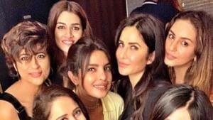 Katrina Kaif and Priyanka Chopra with other Bollywood celebs.