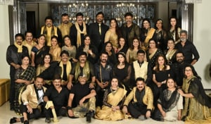 Chiranjeevi hosted a party for 80s stars at his residence in Hyderabad.
