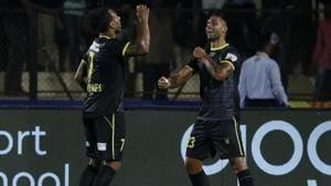 Robin Singh celebrates after scoring goals.(ISL)