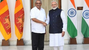 Gotabaya Rajapaksa held talks with Prime Minister Narendra Modi on ways to push the bilateral relations and undertake developmental activities jointly in the island nation, including those benefiting ethnic Tamils. (HT photo by Mohd Zakir)