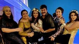 Chiranjeevi with his friends at the party.