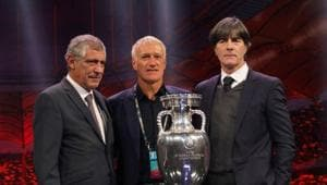 Portugal coach Fernando Santos, France coach Didier Deschamps and Germany coach Joachim Loew pose with the trophy after being drawn in group F(REUTERS)