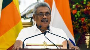 Sri Lankan President Gotabaya Rajapaksa at Hyderabad House in New Delhi on Friday.(Mohd Zakir/HT PHOTO.)