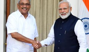 """India's outreach to Mr Rajapaksa is based on the government's new approach of working with whoever is chosen by the people of neighbouring countries, instead of propping up favourites. Mr Rajapaksa too sent out the right message, telling the Indian leadership that the country will remain a priority for his government, and that no """"third force"""" will be allowed to come in the way of bilateral cooperation(Mohd Zakir/HT PHOTO)"""