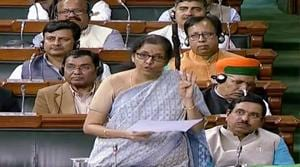 Union Finance minister Nirmala Sitharaman speaks in Lok Sabha during the ongoing winter session of Parliament, in New Delhi on Monday. (ANI Photo/ LSTV TV Grab)