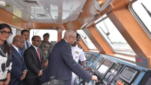 Maldives President Ibrahim Mohamed Solih seen inspecting CGS Kaamiyaabu—an in-shore patrol vessel gifted today by the Indian government.(Photo: Twitter/ presidencymv)