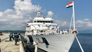 Indian Merchant Vessel Navdhenu Purna rescued 86 fishermen from 07 IFBs and a Japanese flag vessel MV Towada rescued around 34 fishermen from the distressed fishing boats.(ANI / Twitter)
