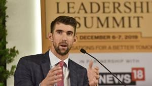 Michael Phelps, Swimming Champion and Olympic Record Holder during the Hindustan Times Leadership Summit.(Sanjeev Verma/HT PHOTO)