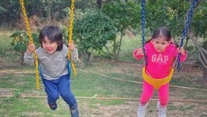 A picture of Taimur and Inaaya on swings was shared by Soha Ali Khan.