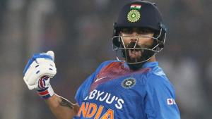 Virat Kohli in action during the first T20I between India and West Indies.(ANI)