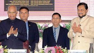 President Ram Nath Kovind with Chief Justice SA Bobde in Jodhpur on Saturday.(ANI PHOTO.)
