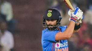 Hyderabad: India's skipper Virat Kohli plays a shot during the first T20 cricket match against West Indies.(PTI)