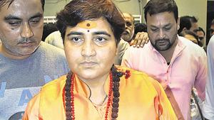 BJP MP Pragya Singh Thakur reached a police station here on Saturday night, demanding that a case be registered against a Congress MLA(PTI)