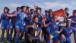 India Women's football team celebrates.(AIFF)