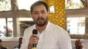 RJD leader Tejashwi Yadav was speaking at the open session of the RJD's national council meet in Patna.(HT Photo)