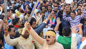 A protest in Assam's Jorhat against Citizenship (Amendment) Bill on Monday(PTI Photo)