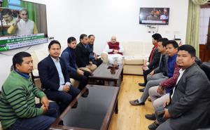 Home Minister Amit Shah met with delegations of IPFT and Joint Movement Against CAB from Tripura and discussed their concerns on Thursday.(ANI Photo)