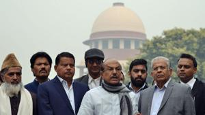 Members of Parliament (MPs) from Indian Union Muslim League (IUML) P.K. Kunhalikutty, E.T. Muhamed Basheer and P.V. Abdul Wahab addressing the media in front of Supreme court after filing a case against the Citizenship (Amendment) Bill 2019, in New Delhi on Thursday.(ANI Photo)