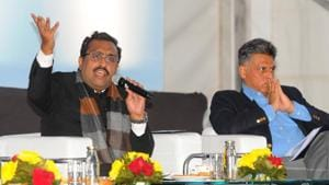 (From left) Ram Madhav and Manish Tiwari during the concluding day of Military Literature Festival-2019 at Lake Club in Chandigarh on Sunday(Keshav Singh/HT)