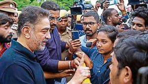 Makkal Needhi Maiam (MNM) founder and actor Kamal Haasan meets students of Madras University, who were protest against the passage of Citizenship Amendment Act (CAA), in Chennai, Wednesday, Dec. 18, 2019.(PTI)