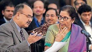 Finance minister Nirmala Sitharaman (right) with revenue secretary Ajay Bhushan Pandey in New Delhi on Dec18, 2019. (ANI photo)
