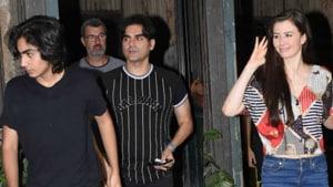 Arbaaz Khan with son Arhaan and girlfriend Giorgia Andriani.