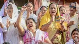 Women take part in a protest demonstration against the Citizenship Amendement Act (CAA), Sivasagar, Assam, December 18, 2019.(PTI)