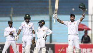Pakistani batsman Azhar Ali acknowledges his 100(AP)