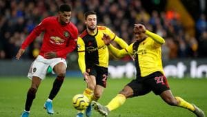 Manchester United's Marcus Rashford in action with Watford's Kiko Femenia and Christian Kabasele.(Action Images via Reuters)