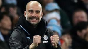 Manchester City manager Pep Guardiola celebrates after Riyad Mahrez scores their first goal.(Action Images via Reuters)