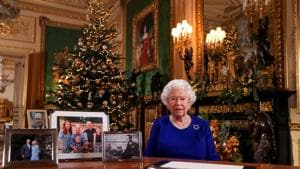 Britain's Queen Elizabeth poses, after recording her annual Christmas Day message in Windsor Castle, in Berkshire, Britain.(REUTERS)