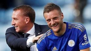 File image: Leicester City manager Brendan Rodgers with Jamie Vardy.(Action Images via Reuters)