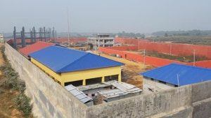 Work on the detention centre started in December. Besides the housing quarters, the facility, which is surrounded by 20-22 feet high boundary walls, will contain a staff quarters, hospital, school, an office complex, kitchen and dining and community space.((Utpal Parashar/HT))