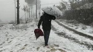 Snowfall in Luvishe village in Zunheboto district of Nagaland.(TWITTER.)
