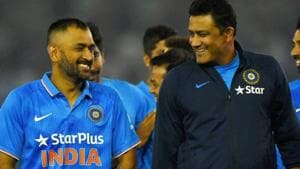 A file photo of MS Dhoni (L) and Anil Kumble.(PTI)