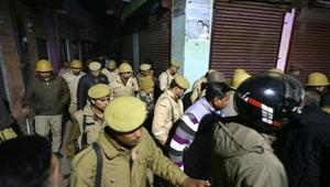 Police personnel seen patrolling in Bijnor, Uttar Pradesh, on December 24.(Photo by Biplov Bhuyan / HT Photo)