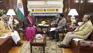 A delegation of Bharatiya Mazdoor Sangh met Finance Minister Nirmala Sitharaman in New Delhi on Monday.(PTI Photo)